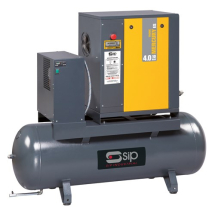 SCREW COMPRESSOR WITH DRYER 5.5HP 17CFM 20AMP 200T 145PSI