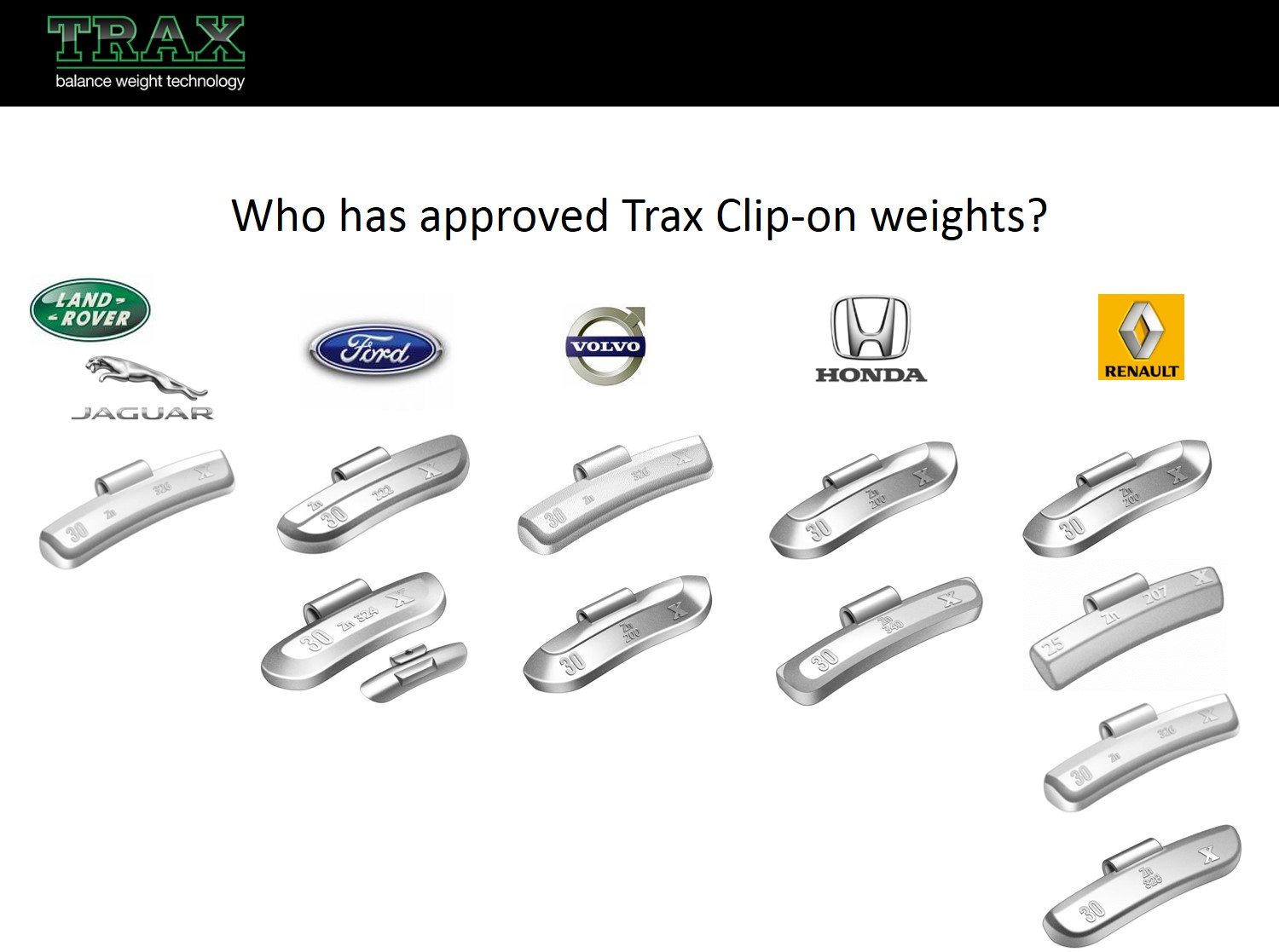 Who has Approved Trax Wheel Weights?