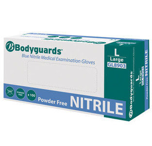 BODYGUARDS BLUE NITRILE POWDER FREE GLOVES EXTRA LARGE