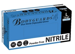 BODYGUARDS BLUE NITRILE POWDER FREE GLOVES LARGE