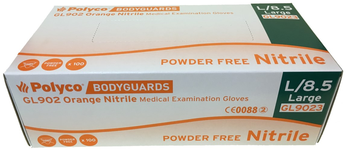 BODYGUARDS ORANGE NITRILE POWDER FREE GLOVES LARGE